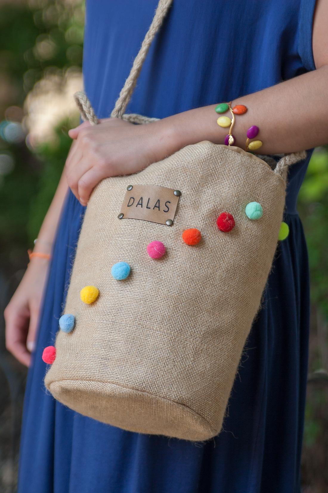 Detalle de bolso DALAS handmade.