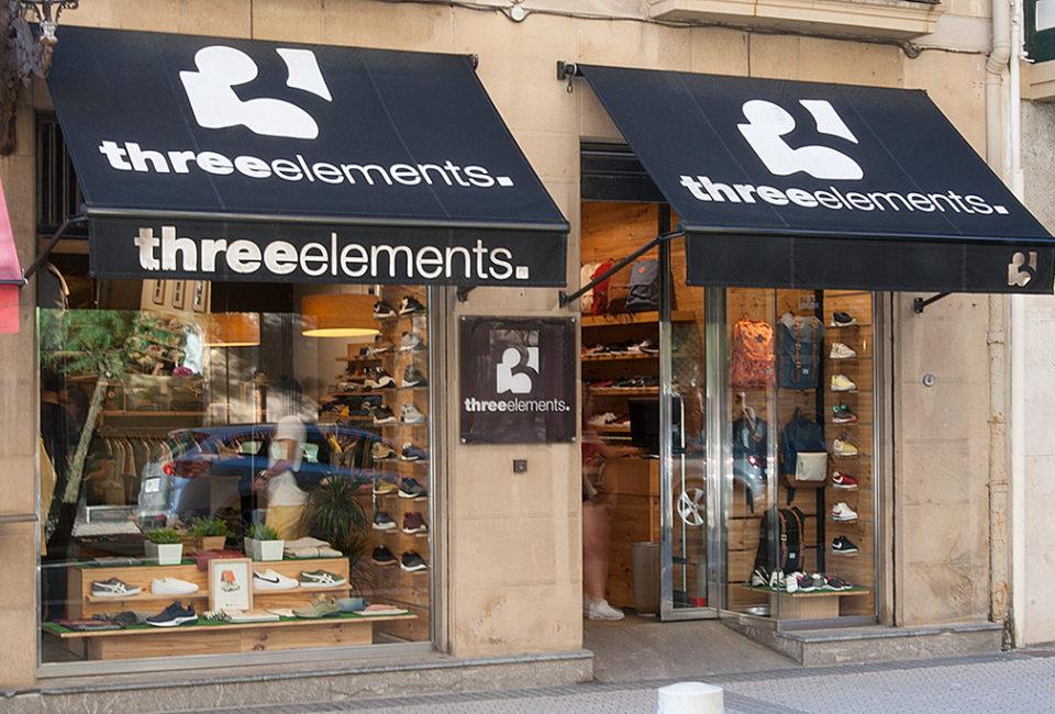 Escaparates de la tienda Three Elements de Donostia.